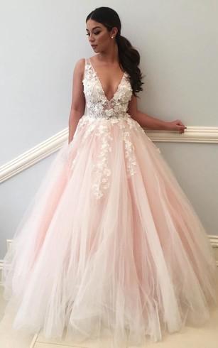 79d9efae13 Ball Gown Lace Tulle V-neck Sleeveless Zipper Low-V Back Dress