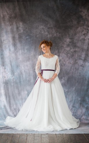 3 4 Sleeve A Line Lace And Organza Dress With Bateau Neckline Satin