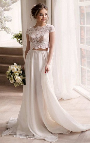 Two piece top wedding gown crop bridal dress dorris wedding bateau short sleeve two piece chiffon wedding dress with lace top junglespirit Gallery