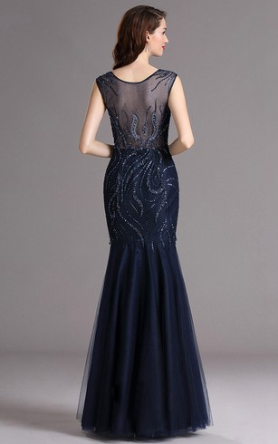Mermaid Bateau Sleeveless Tulle Sequins Illusion Dress
