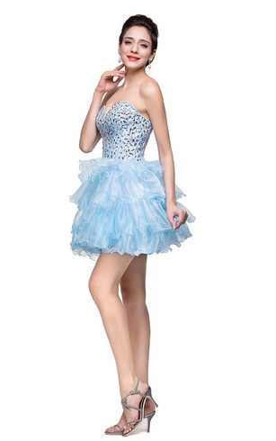 Glamroous Sweetheart Crystal Homecoming Dress 2016 Organza
