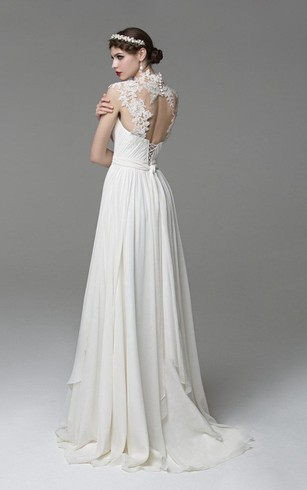 High Neck Chiffon Dress With Lace Top and Keyhole Back
