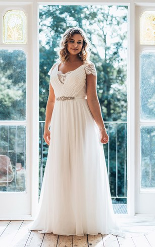 Affordable plus figure wedding gowns cheap large size bridals a line floor length v neck short sleeve chiffon sweep train illusion lace junglespirit Images