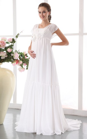 Chiffon Pleated Maternity Dress With Floral Waistband