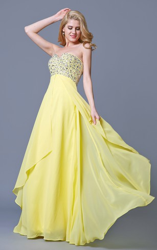 Charming Jewel-beaded Flyaway Chiffon Gown