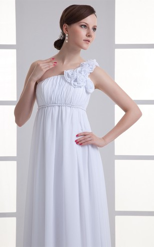 One-Shoulder Chiffon Long Empire Dress With Flower