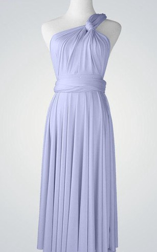 One Shoulder Pleated A-line Jersey Knee Length Dress With Bandage
