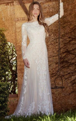 Long illusion sleeve bridal dresses long sleeved wedding gown sheath long sleeve high neck tullelace wedding dress with sweep train junglespirit Gallery
