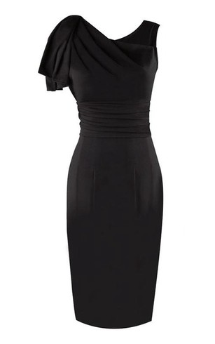 Elegant Ruffles Bodycon Knee Length High Neck Jersey Dress