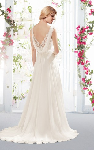 Empire Plunging Neck Lace and Chiffon Dress With Back Cowl