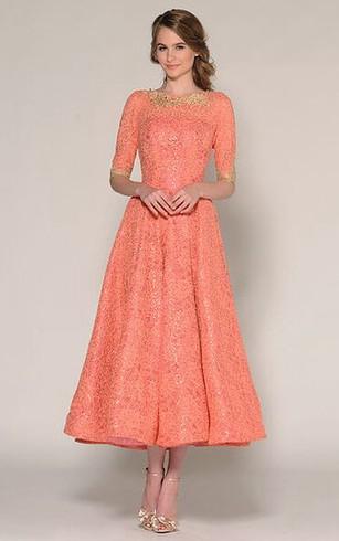 A Line Tea Length Half Sleeve Jewel Neck Beaded Lace Prom Dress
