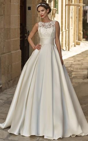 A Line Sleeveless Floor Length Appliqued Jewel Neck Satin Wedding Dress ...