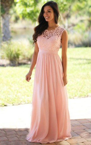 Peach color long length bridesmaids dresses peach dress for a line long high neck appliques chiffon lace dress junglespirit Choice Image