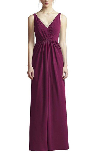 Strapped V-neck Ruched Long Bridesmaid Dress