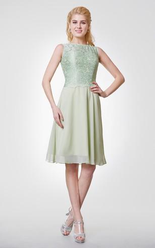 Bateau Neck A Line Chiffon Knee Length Dress With Lace Bodice