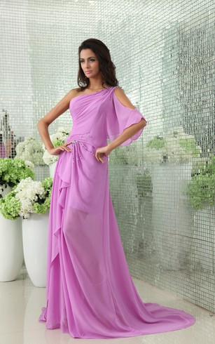 Unique Backless Sequined One-Shoulder Side Draped Chiffon Gown
