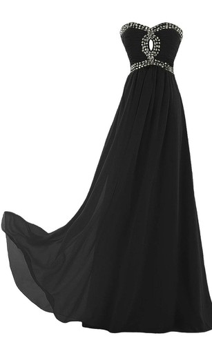 Sweetheart A-line Chiffon Gown With Beadings