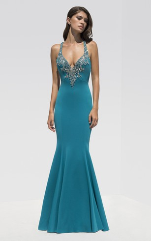 Mermaid Floor-Length Straps Sleeveless Jersey Beading Dress