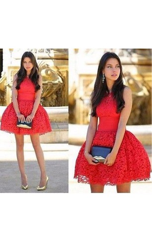 Red Mini Length Lace Cocktail Dress Ball Gown Party Dress