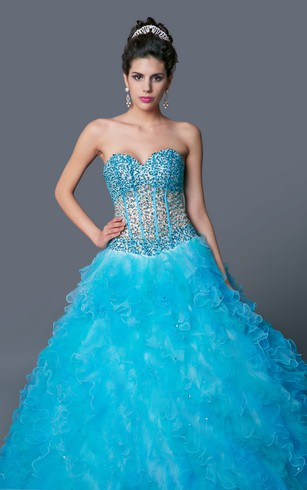 Dramatic Basque Bodice Floor Length Gown