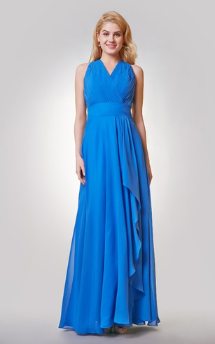 Ruched A-line Long Chiffon Dress With Side Draping
