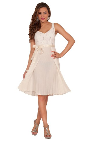 Sweet A-line Short Dress With Satin Belt