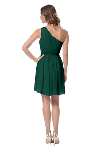 Chiffon Unique Short One-Shoulder Dress With Ruching