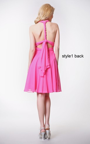 Convertible Sleeveless Halter Neck Pleated Short Chiffon Dress