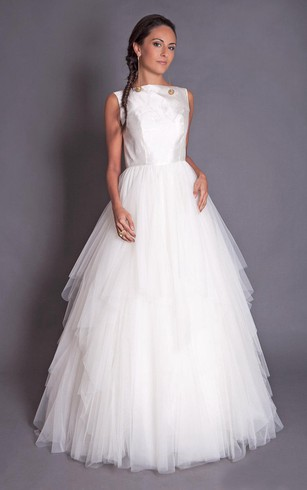 High Neck Sleeveless A-Line Tulle Dress With Tiers