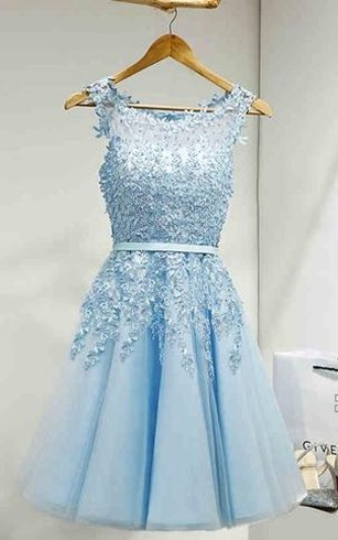 Lovely Popular Sleeveless Jeweled A-line Knee-length Lace Dress