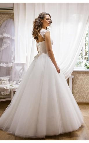 Modern Bateau Sleeveless Tulle Lace Wedding Dress Floor Length Up