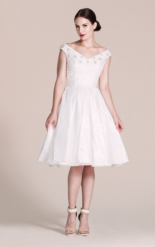 Off-shoulder Knee-length A-line Dress With Beadings