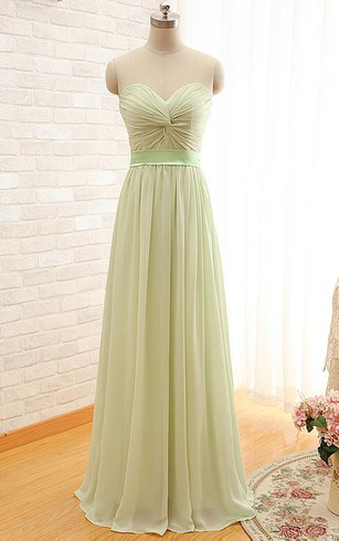 A-line Sweetheart Sleeveless Sash Corset Back Chiffon Dress