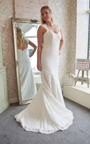 Plus size summer wedding dresses dorris wedding lace mermaid sleeveless dress with v neck and keyhole back junglespirit Image collections