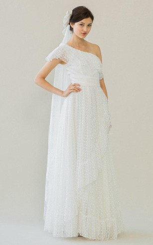 One Shoulder A Line Tulle Dress With Ruffles And Cinched Waistband