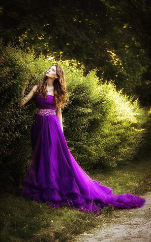 Cheap purple color wedding gown colorful bridal dresses dorris glamorous one shoulder purple tulle prom dress 2018 new fashion cloud wedding gown junglespirit