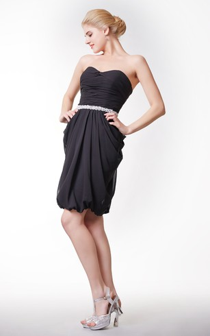 Sweetheart Chiffon Short Dress With Beaded Waist