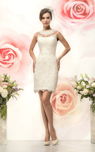 Pencil Short Jewel Sleeveless Keyhole Lace Dress With Appliques