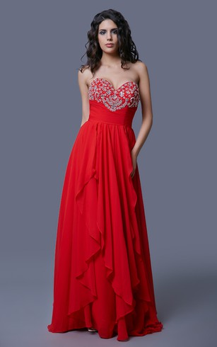 Stunning Sweetheart A-line Chiffon Gown with Beadings