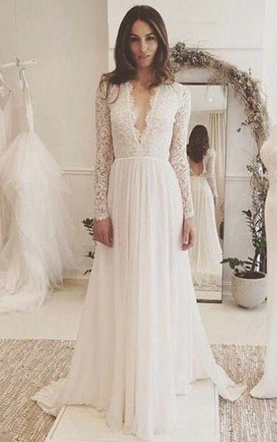 Cheap bohemian wedding gown cheap grecian beach bridal dress v neck long sleeves backless ivory chiffon wedding dress with lace junglespirit