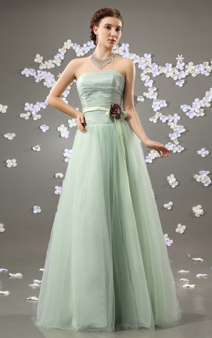 Chiffon Strapless A Line Dress With Satin Sash And Flower