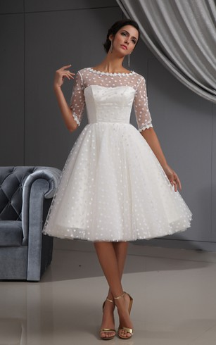Short bridal dresses knee length simple casual wedding gowns half sleeve illusion knee length short dress with lace and dot junglespirit Image collections