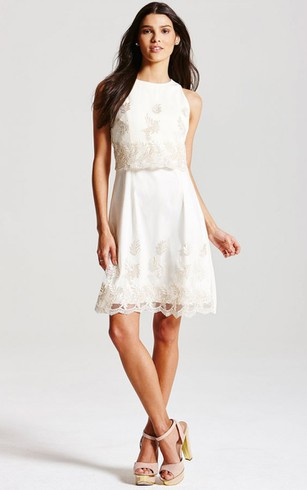High-Neck Sleeveless Knee-Length Dress With Lace