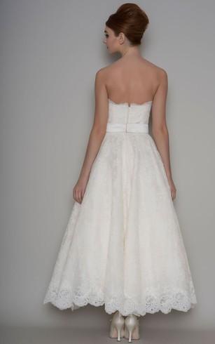Rustic bridal dresses barn wedding dress dorris wedding ankle length a line appliqued strapless lace wedding dress with bow junglespirit Images