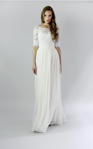 Simple style wedding dress with sleeve simple sleeves bridal button back sheath chiffon wedding dress with lace and pleats junglespirit