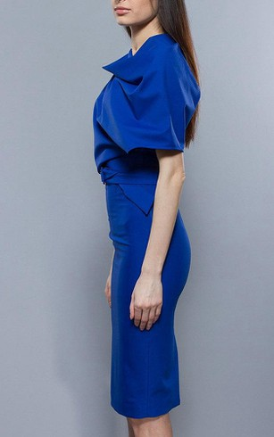 Oversize Top Sheath Jersey Knee Length Dress With Belt Royal Blue
