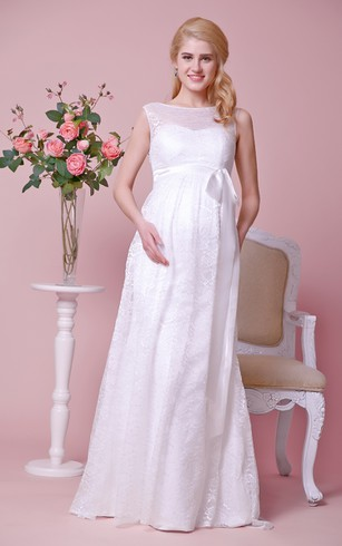 Pregnancy wedding dresses maternity wedding dresses dorris wedding bateau neck cap sleeved lace long dress with bow junglespirit Image collections