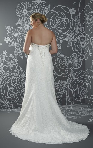 A-Line Floor-Length Sweetheart Sleeveless Lace Sweep Train Lace-Up Back Beading Dress