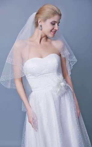 Mid Length Two Tier Beaded Trim Veil