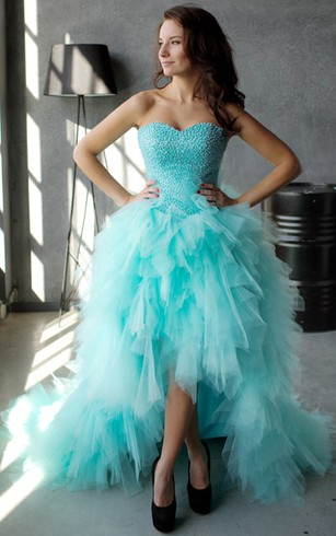 A-Line High-Low Sweetheart Sleeveless Tulle Ruffles Beading Lace-Up Dress